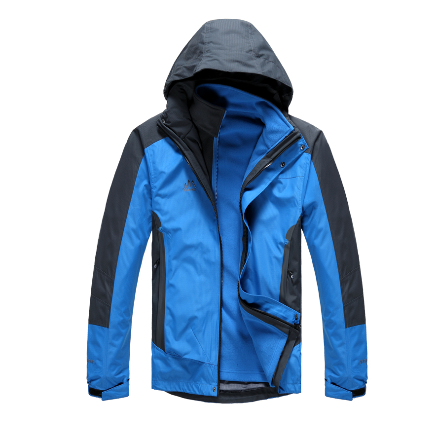 Autumn and winter twinset outdoor jacket male fleece liner three in one rainproof windproof =YcfM5