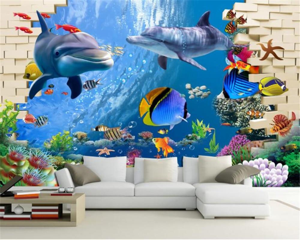 beibehang Silk Cloth Wallpaper 3D Underwater World Dream Background Wall Murals papel de parede 3d wallpaper
