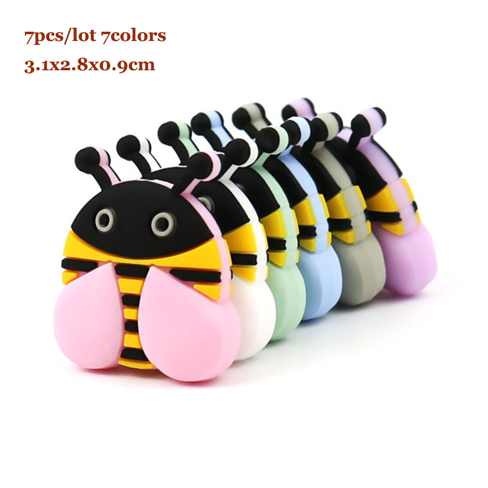 7Pcs Honeybee Silicone Beads 3.1cm Perle Silicone Dentition Baby Teething Toys BPA Free Bee Mordedor Silicona Bebe Baby Products