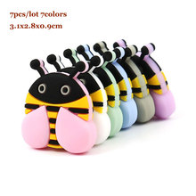 7Pcs Honeybee Silicone Beads 3.1cm Perle Silicone Dentition Baby Teething Toys B