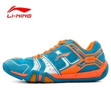 Li-Ning Мужская портативная износостойкая обувь для бадминтона Li Ning противоскользящие демпфирующие кроссовки на шнуровке для спорта на открытом воздухе AYTM085-2H