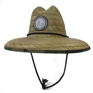 Image 2 - Paglia naturale Del Tessuto Bagnino Cappello Per Gli Uomini Spiaggia cappello del Sole Allaperto Tesa Larga Camouflage Cappello Panama Taglia 58 59 CM