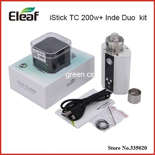 Original Eleaf iStick TC 200W Box Mod Vape Upgradeable Firmware TC200W with Wismec Inde Duo Atomizer kit original woody vapes x200 tc box mod with 7 200w