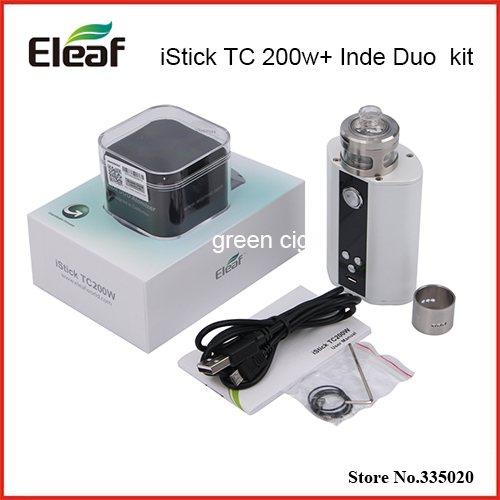 Original Eleaf iStick TC 200W Box Mod Vape Upgradeable Firmware TC200W with Wismec Inde Duo Atomizer kit