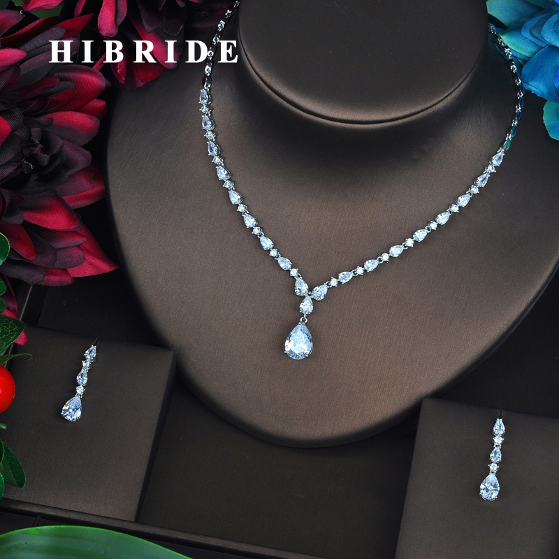 HIBRIDE Brilliant Water Drop Shape Cubic Zirconia Women Bridal Jewelry Sets Necklace Set Wedding Dress Accessories Gifts  N-441HIBRIDE Brilliant Water Drop Shape Cubic Zirconia Women Bridal Jewelry Sets Necklace Set Wedding Dress Accessories Gifts  N-441