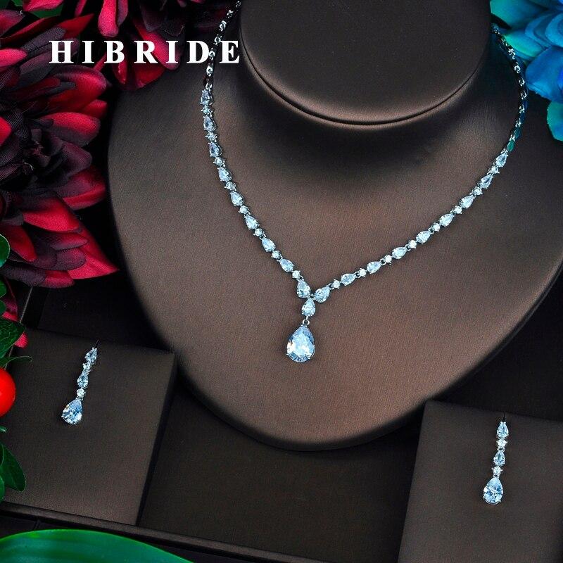 HIBRIDE Brilliant Water Drop Shape Cubic Zirconia Women Bridal Jewelry Sets Necklace Set Wedding Dress Accessories Gifts N-441