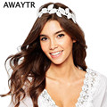 AWAYTR Elastic Lace Headbands for Women Elegant Party Hair Accessories White Flower Hairband Boho Lace leaves Hairbands