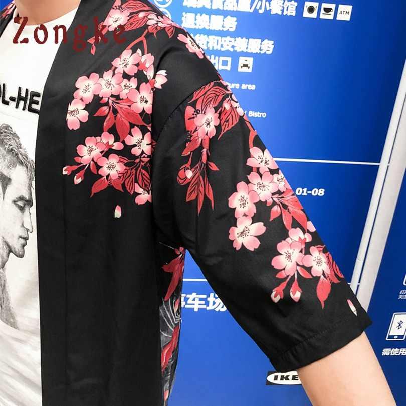 Zongke Kimono japonais Cardigan hommes longue carpe imprimé Floral Kimono Cardigan hommes blanc été japon Kimono hommes veste 2018