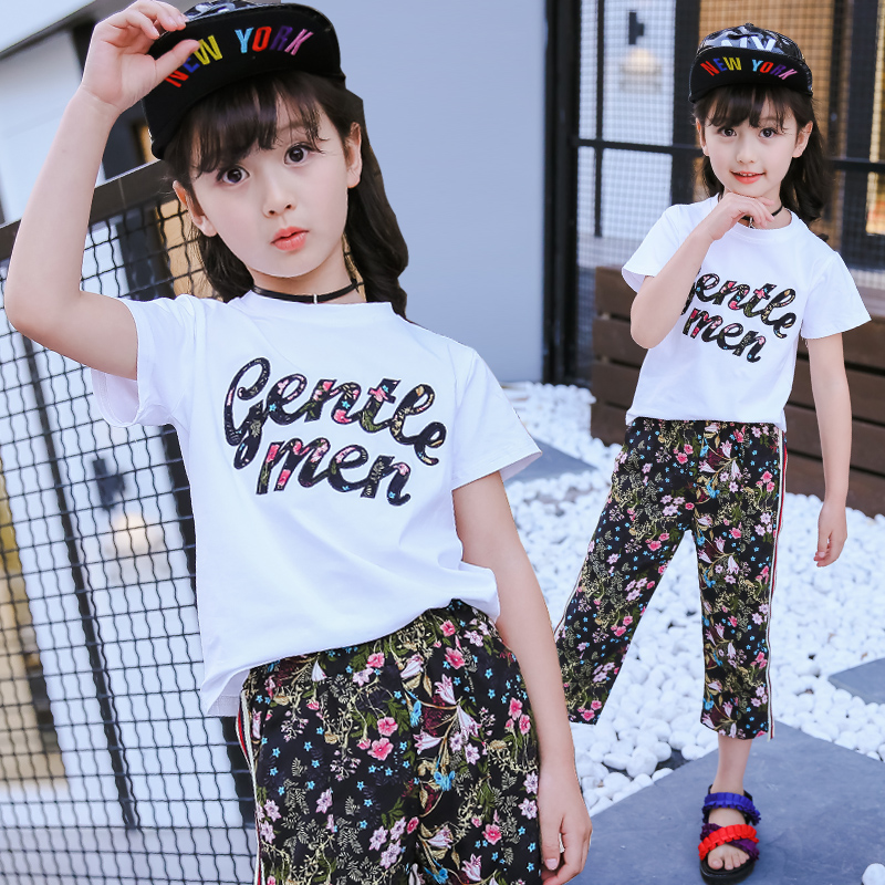 2 Pcs Girls Clothing Sets T-shirts Tops+Floral Print Wide Leg Pants Summer Children Brand Kids Clothes Suits 2017 Sale 12 13 14 women s summer floral print wide leg cropped pants
