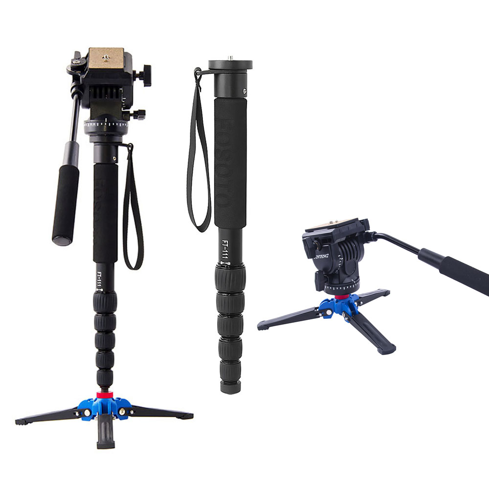 Fusitu FT111 Aluminium Professional Camera Walking Stick With Mini Tripod Monopod Stand Base And Tripod Head For DSLR