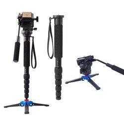 Fusitu FT111 aluminiowa profesjonalna kamera kijki trekkingowe z Mini statywem statyw monopod podstawa i głowica statywu do DSLR