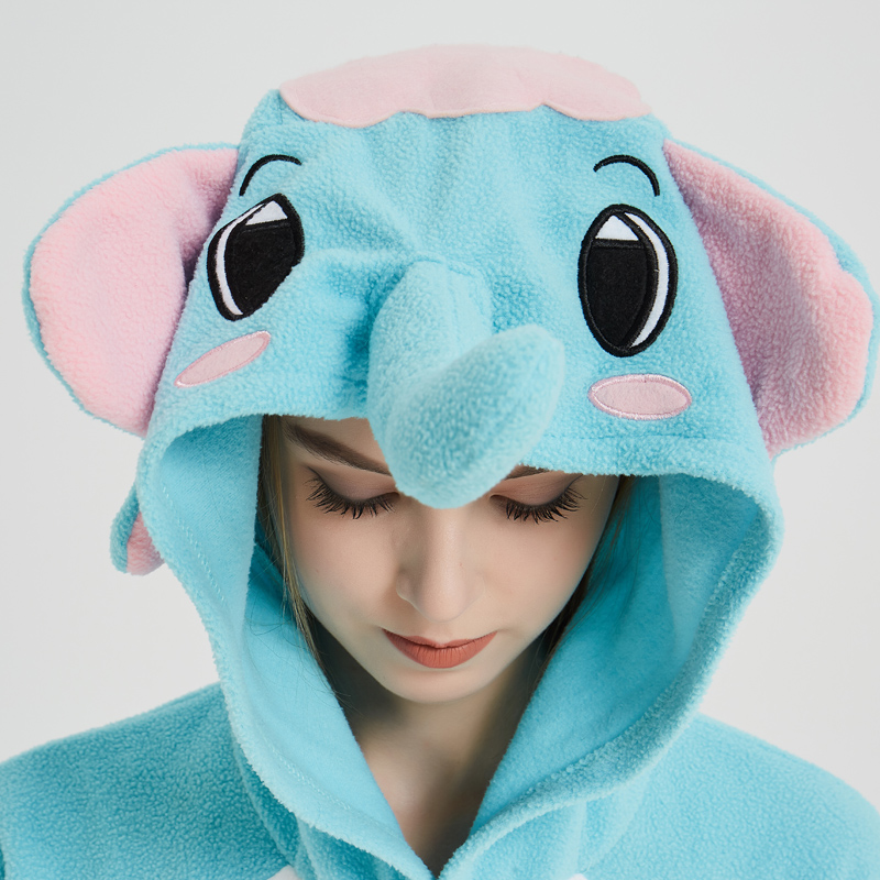 Elephant Adult Pajamas Polar Fleece Onesies Kigurumi For Halloween Pink One-piece Jumpsuit Siamese Cosplay Custome (8)