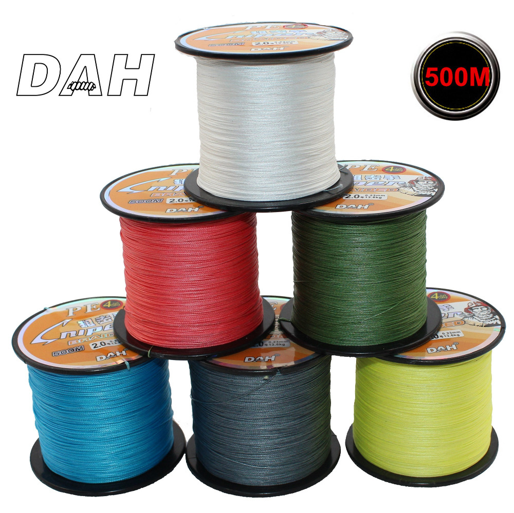 DAH 브랜드 500M 4 Strand Weaves 낚시 라인 PE Braided Super Strong Multifilament PE 꼰 낚시 라인 10 20 30 40 60 70LB