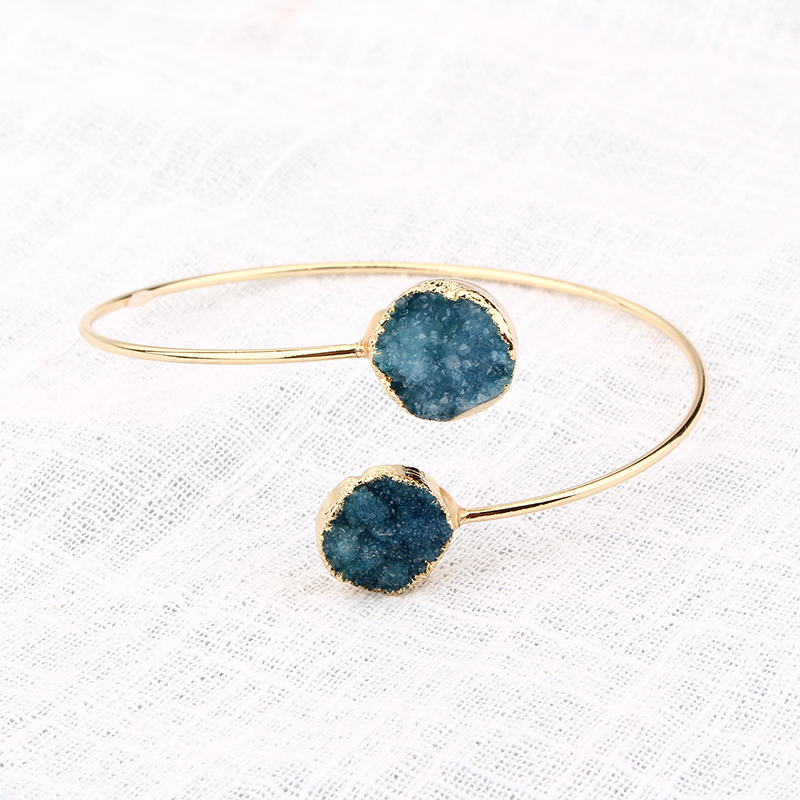 Natural Stone Druzy Arm Hand Cuff Bracelets Bangles Gold color Round Drusy Adjustable Bracelet Fashion Jewelry For Women DB27