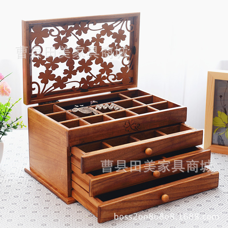 Large Wooden Jewelry Box Jewelry Necklace Earrings High End European Retro  Princess Box Makeup Organizer