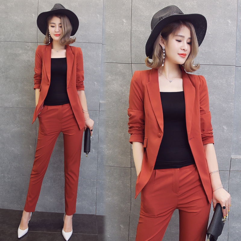 2 Piece Set Women Black Pink Yellow Red White Pants Suits Cardigan Trousers Autumn Plus Size Office Women Pant Suits