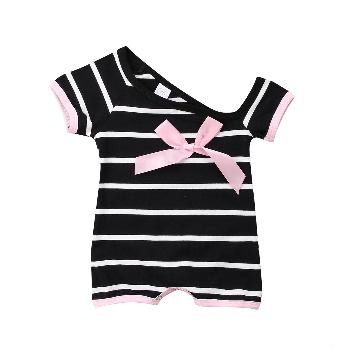 0-3T Soft Cotton Newborn Baby Girl Off Shoulder Bow Jumpsuit Bodysuit Black/White Stripe Clothes Outfit