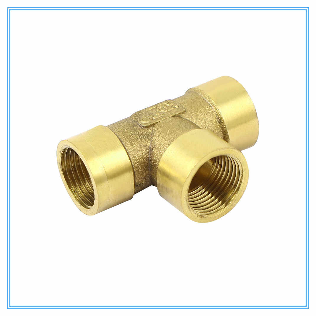 "1/8"" 1/4"" 3/8"" 1/2"" 3/4"" BSP Female Thread 3 Way Tee Type Brass Pipe Fitting Adapter Coupler Connector For Water Fuel Gas"