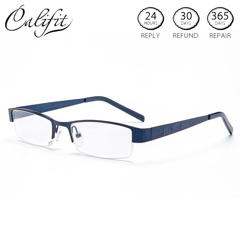 ac877abe25 CALIFIT moda graduó hombres lente de prescripción medio marco tallado  astigmatismo negocios anteojos ópticos gafas