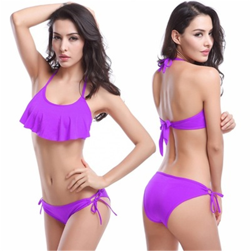 ⃝11 Colors Bikini ₪ 2016 2016 Sexy Ruffled Halter Swimsuit