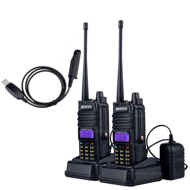 2 UNIDS CProfessional Walkie Talkie Impermeable IP57 NKTECH UV-7RX Con SOS FM Estación de Radio BAOFENG Radio VS BF-A58 R760 + Cable