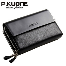 P.Kuone High Quality Double Zipper Men Brand Handbag Clutch Bag Genuine Leather Business Man Day Clutches