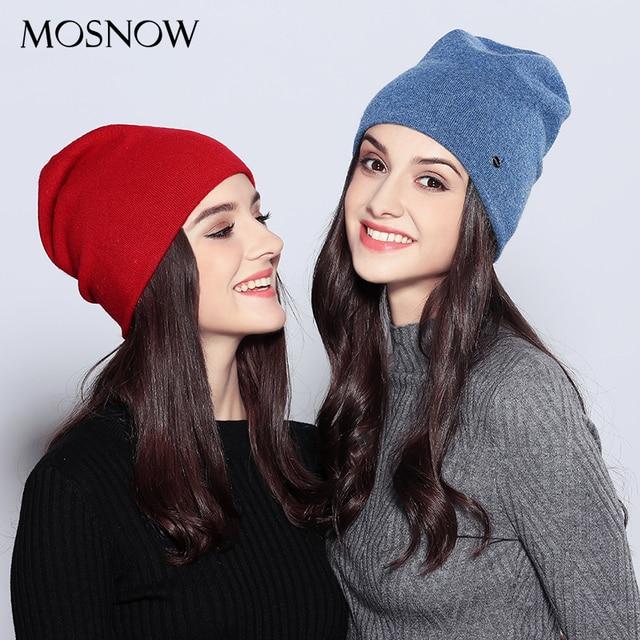 Women's Top Wool Casual Autumn Winter Brand New Double Layer Skullies Beanies 1