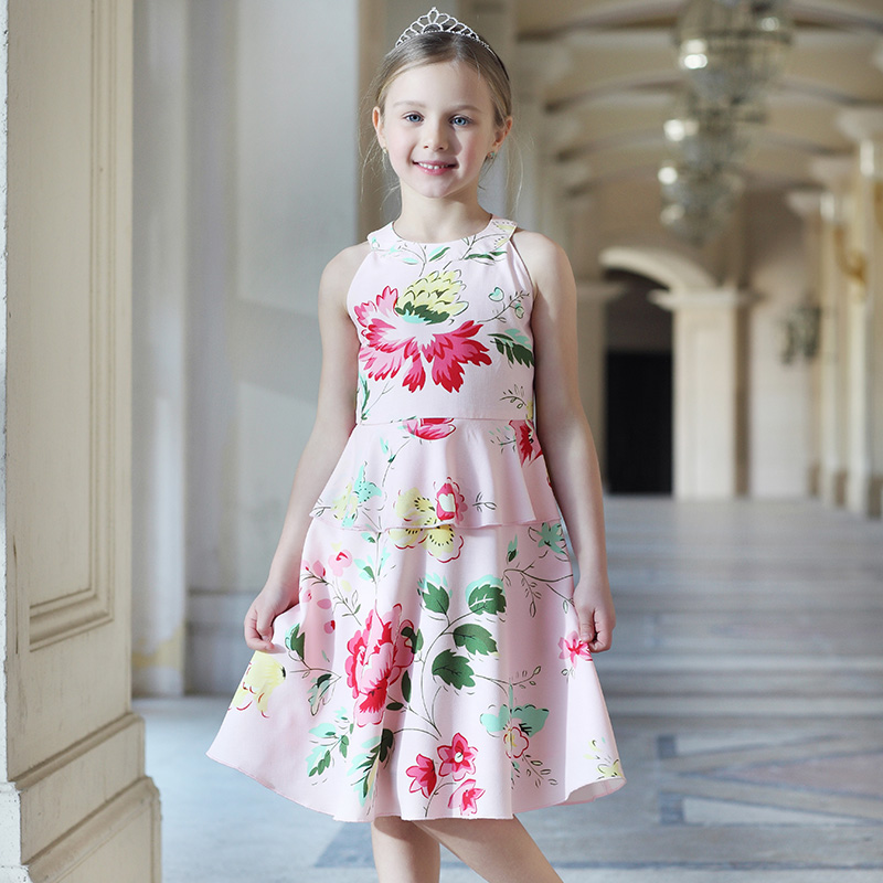 Summer Kids Clothes child A-line sleeveless hanging neck dress Tiered sundress teenager 1-14Y girls evening party formal dresses stylish jewel neck sleeveless print spliced women s sundress
