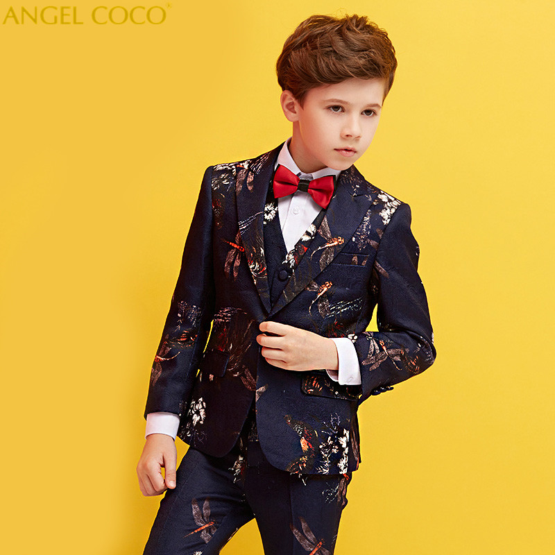 Nimble Suit For Boy Single Breasted Boys Suits For Weddings Costume Enfant Garcon Mariage Boys Blazer Jogging Garcon Print Suits