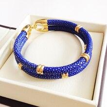 Bracelet à Double sangle en Stingray bleu authentique, bijoux Original, thaïlande, BL 02968