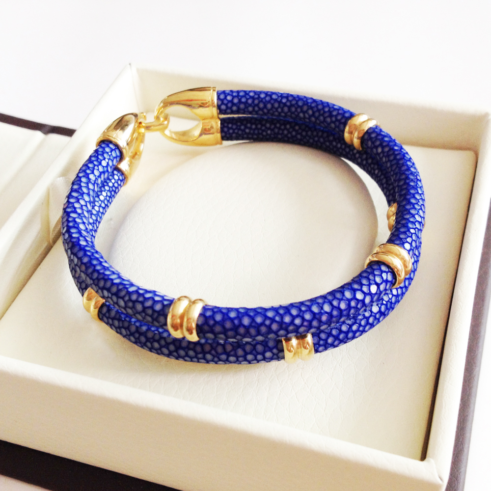 Classic Genuine Blue Stingray Double Strap Bracelet Bangle Original Thailand Stingray Bracelet for Men Jewelry BL-02968 blue original letter wide bangle