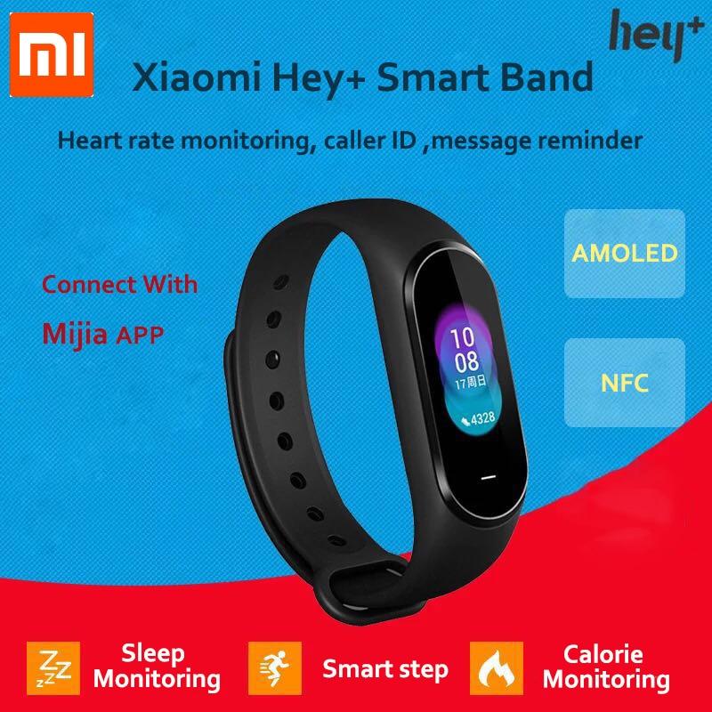 En Stock Xiaomi Hey Plus Smartband 0,95 pulgadas AMOLED Color pantalla Builtin multifunción NFC Frecuencia Cardíaca Monitor Hey + banda