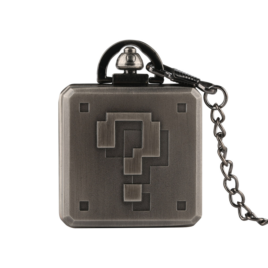 Steampunk Square <font><b>Big</b></font> Question Mark Design Pocket <font><b>Watch</b></font> Chain Game Box Shape Fob <font><b>Watches</b></font> For Men Quartz Male Clock Boy Gifts 2019 image