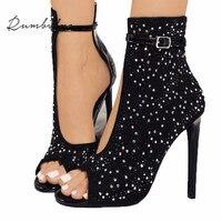 Rumbidzo Women Pumps 2018 Crystal High Heels Brand Design Sexy Gladiator Thin Heels Women Rhinestone Buckle