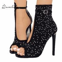 Rumbidzo Women Pumps 2018 Crystal High Heels Design Sexy Gladiator Thin Heels Women Rhinestone Buckle Strap