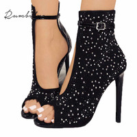 Rumbidzo Women Pumps 2018 Crystal High Heels Design Sexy Gladiator Thin Heels Women Rhinestone Buckle Strap