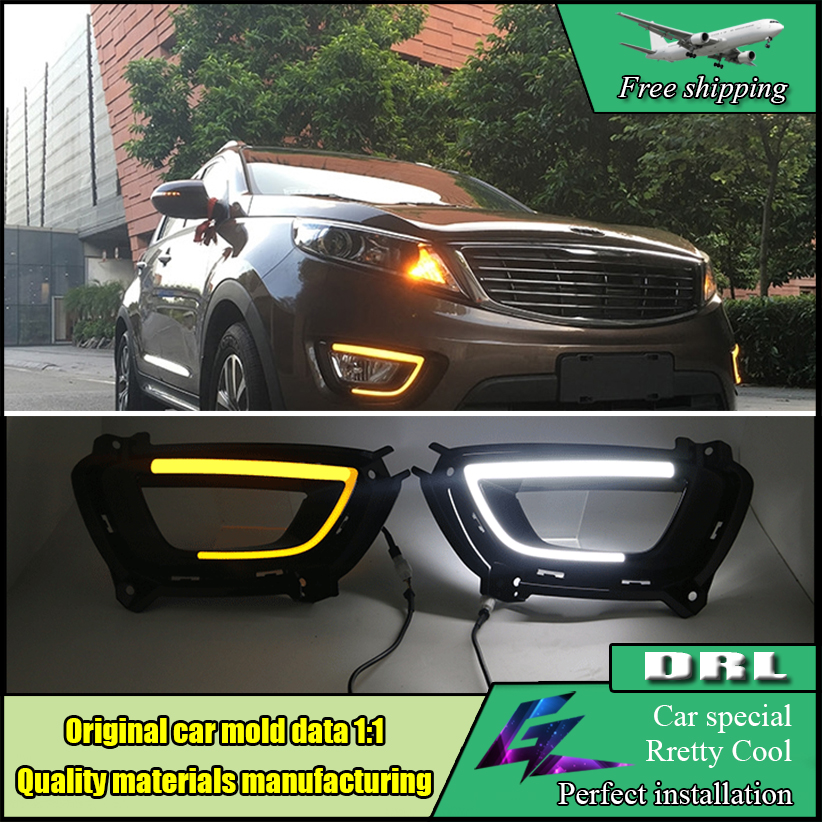 Car LED DRL Kit For Kia Sportage R 2014 2015 High brightness guide led Daytime running light Daylight two style can be choose kinston cute marshmallow pattern pc hard case for iphone 5 5s green white
