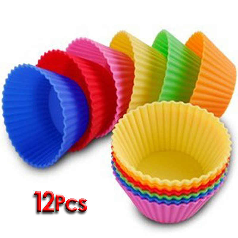 12 Pcs/Set Colorful Silicone Cake Baking Tools Baking Moulds Cupcake and Muffin Cupcake for DIY Baking Dishes Pan Form