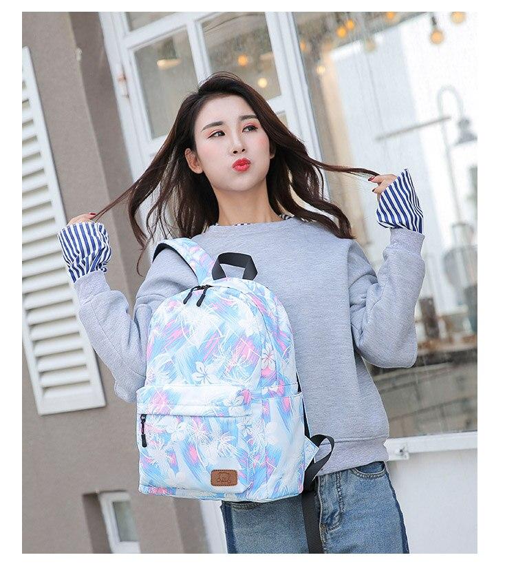 Girls Canvas Floral Printing backpack Women Pink Cute Waterproof Travel Rucksack Big Korean New 16 inch High School Backpack Bag (3)