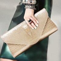 Silver Envelope Evening Clutch Bag Crocodile Pattern Leather Genuine Messenger Women Bags Crossbody Purses and Handbag Designer