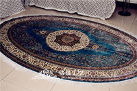 6'x9' Blue Handmade Silk Carpets Oval Persian Flower Hand Knotted Silk Rugs For Living Room