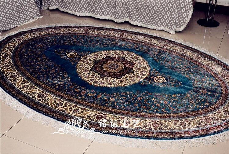 Tapis en soie fait main bleu 6'x9 'tapis en soie noués à la main de fleur persane ovale pour le salon
