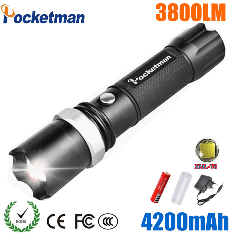 USA FT17 XM-L T6 3800LM Tactical led Torch Zoomable LED Flashlight Torch light for AAA or 1xRechargeable 18650 battery waterproof xm l t6 2200 lumen torch tactical zoom led flashlight torch light lanternas led by 3 aaa 18650 battery