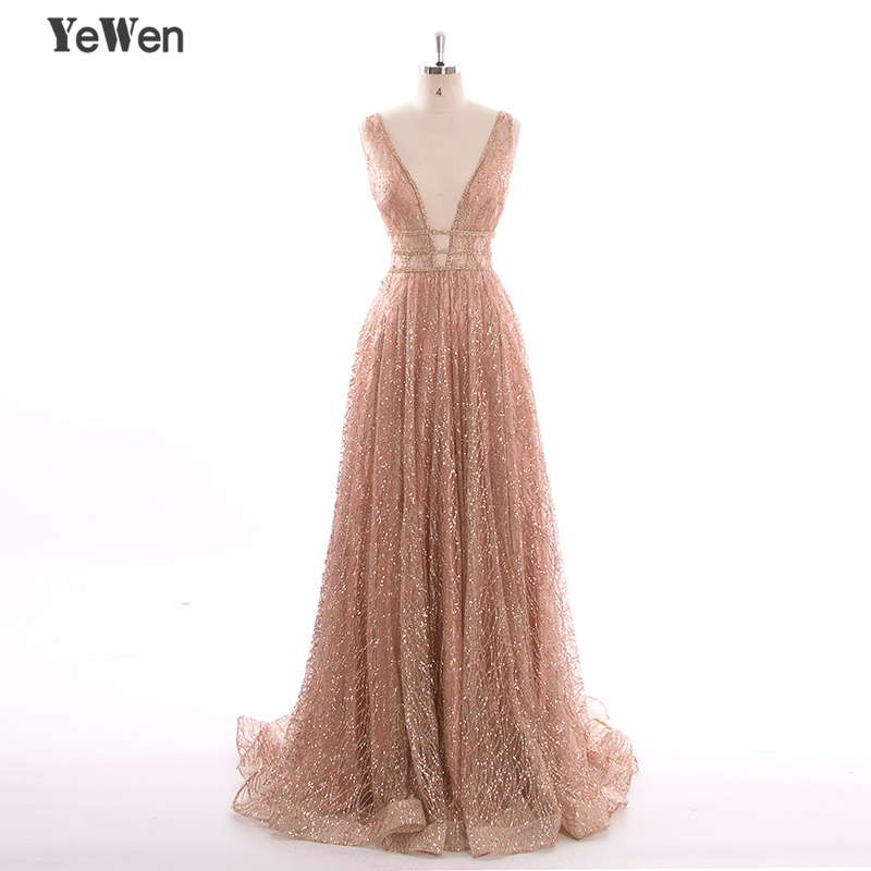 Evening Dresses Gold V-neck Beading Sequined Luxury Evening Dresses Long Mermaid Sleeveless Formal Evening Gown 2019 Real Photo La6075