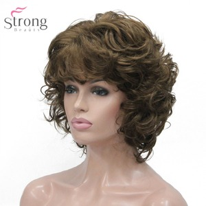 Image 2 - StrongBeauty Womens Synthetic Wig Natural Hair Blonde/Black Hairpiece Short Curly Wigs