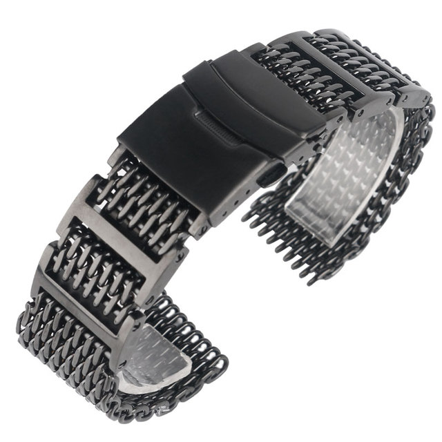 Shark alta calidad pulsera de acero inoxidable de malla de 20mm/22mm/24mm negro banda de reloj correa de repuesto fold over corchete mens de lujo