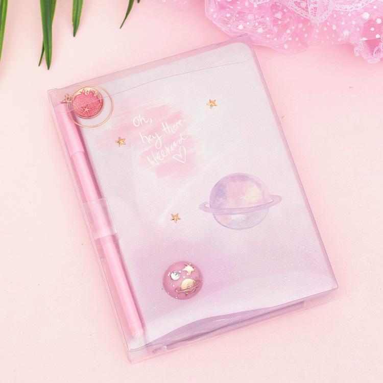 1 Set Ins Pretty Magic Starry Sky Pair Of Lovers Notebook  Universe/Girl's Mood And Secret Creative Diary Book With Pen