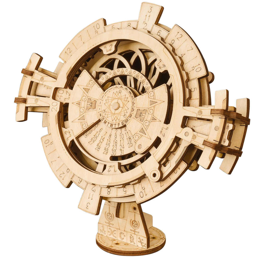 3D Wooden Puzzle Model Building Kits Perpetual Calendar Stem Toy Wooden Model Building Kits  For Kids Adults