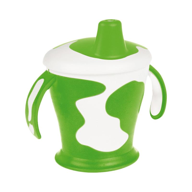 Купить со скидкой Чашка-непроливайка Canpol с ручками, 250 мл. Little cow 9+, цвет: зеленый