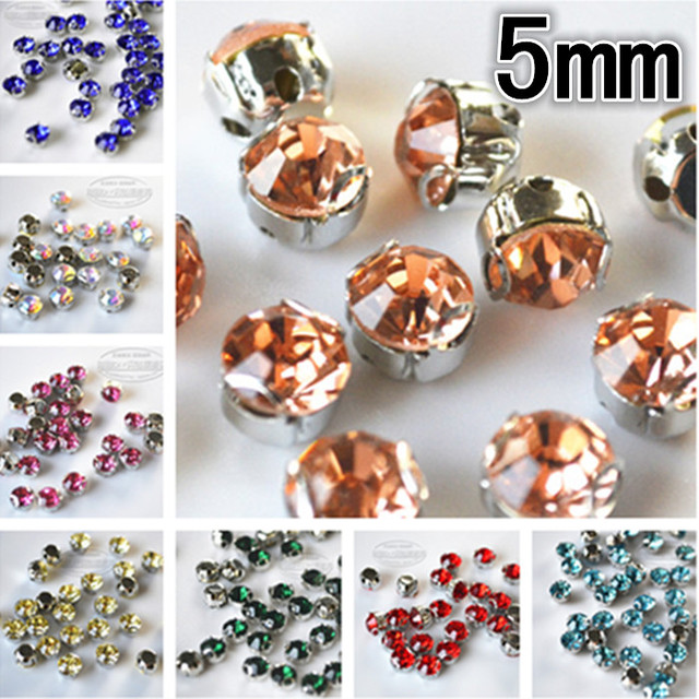 100to500pieces/lot hot selling colourful round glass sew-on claw drill   for clothes skirt materials accessories